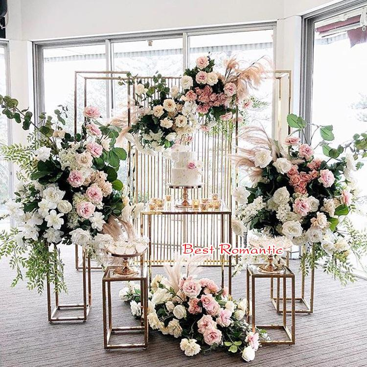 Tall Cake Stand Flower Vases Column Stand Table Centerpiece Flower Rack with Acrylic panel Glossy Stand Plinths for exhibitions event stage
