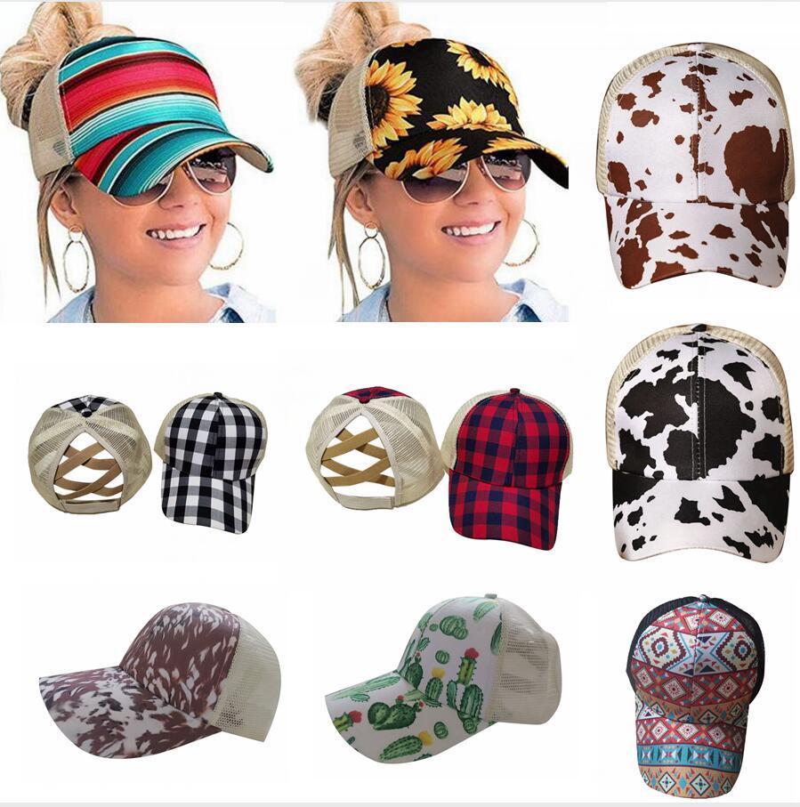 Nouveau tournesol Ponytail Baseball Cap 16 Styles Criss Cross Washed Cotton Ball Caps Plaid Cactus haute Messy Buns Chapeaux DDA551
