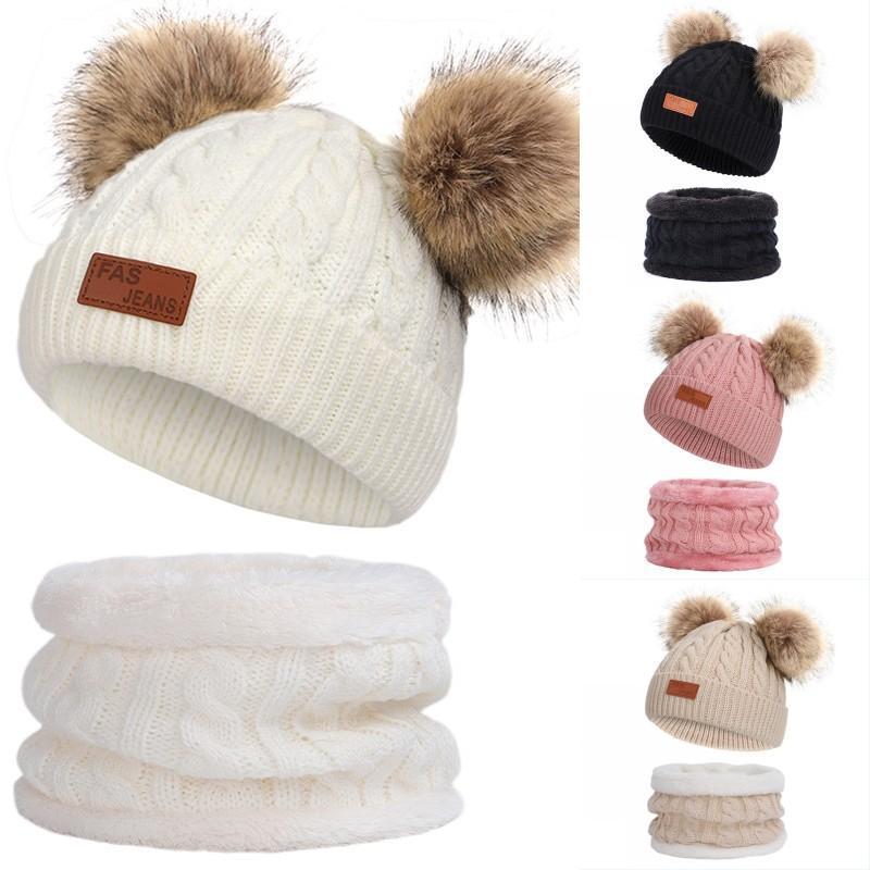 Hot di alta qualità inverno lana spessa cappello dei bambini caldo velluto all'aperto cappelli del Beanie Bavaglino insieme a due pezzi per i ragazzi delle ragazze cappelli caldi