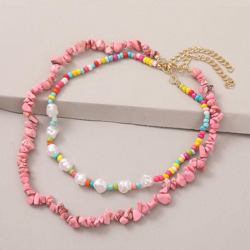 Regali gioielli partito 2Pcs / Set Boemia multicolore Perle White Pearl Collane di perline per le donne Boho Rosa Natural Stone Collana