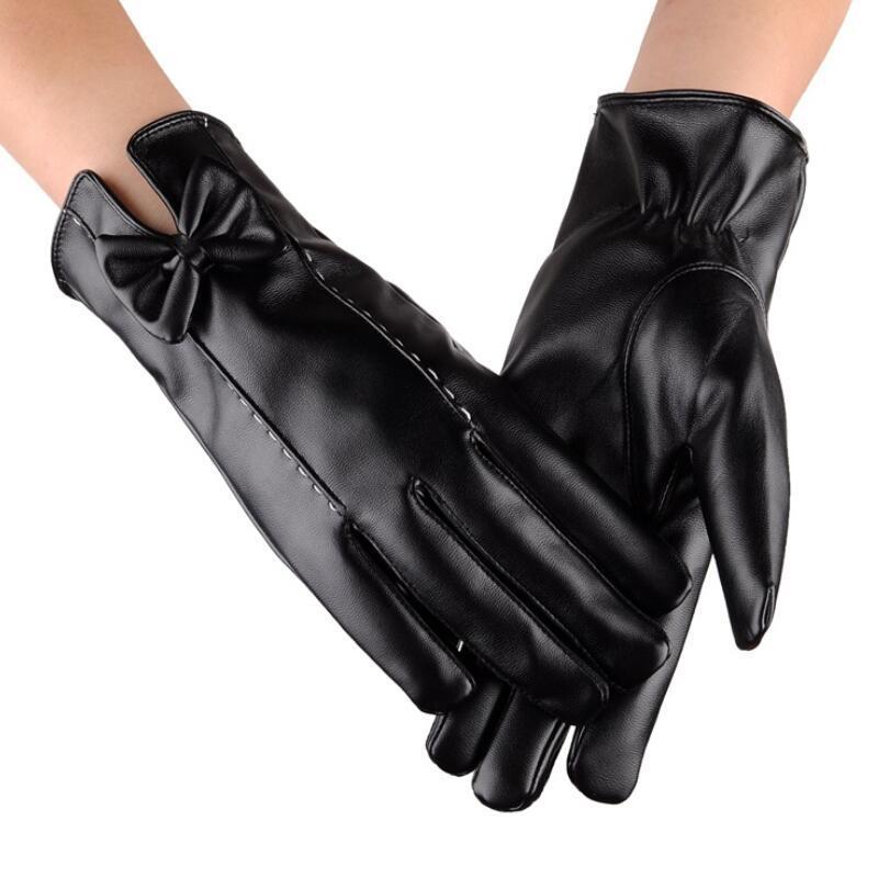 Qualitäts-elegante Frauen Winterhandschuhe Mode Frauen Bogenschmuck Weibliche Driving Touch Phone-Bildschirm Glove Fäustlinge