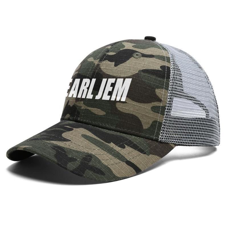 Unisex Pearl Jam logo white Adjustable Trucker Cap Cricket Custom Popular Fashion Baseball Hat Camouflage Marble Radio Logo rainbow Live