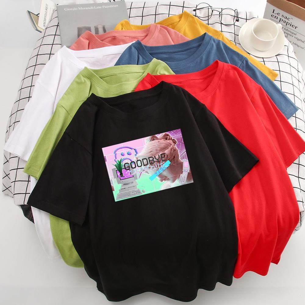 GOODBYE Письмо печати Tshirt Комфортная Новый Tshirt Женщины Фото и сочетание камня Graphic Микеланджело футболка