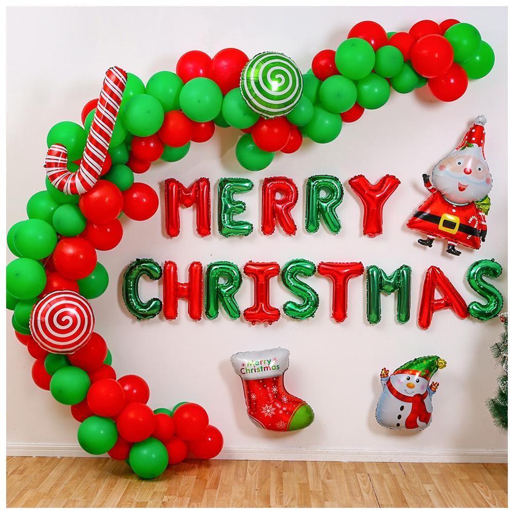 118pcs Noel Banner Parti Sahne Dekorasyon Kırmızı Yeşil Lateks Alüminyum Film Noel Balon Malzemeleri Parti Hediyeler set