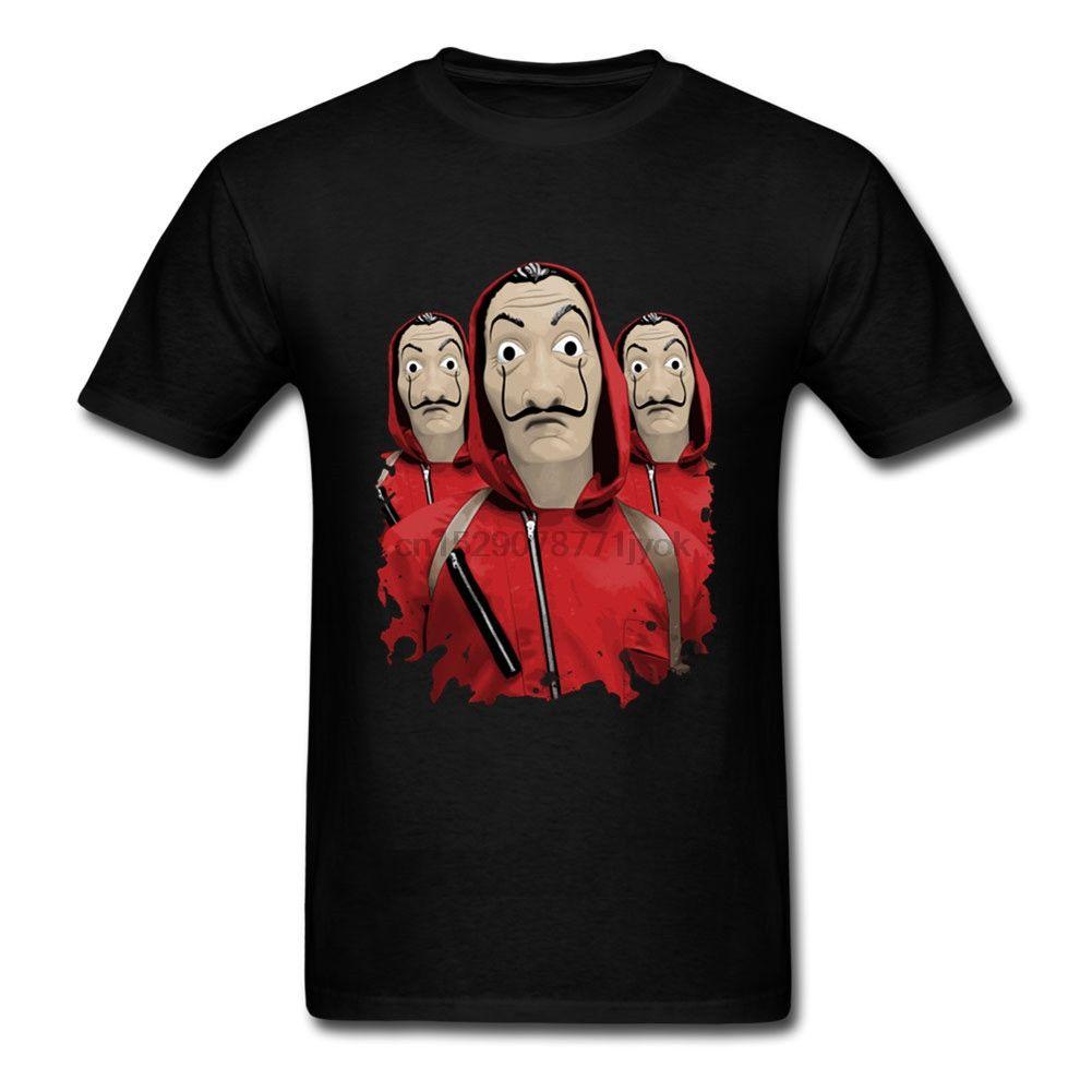 3 Dalis Masque argent Heist La Men Plus Size Casa De Papel coton XS-3XL manches T-shirt pour T-shirt court Maison de papier
