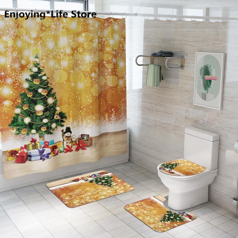 Золотой Рождественская елка Душ занавес напольный коврик из четырех чехлов коврик для ванной Набор для ванных комнат Коврики