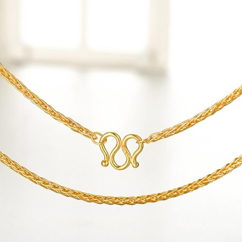 Цепи сплошные чистые 999 24K желтое золотое ожерелье женщин пшеницы звена цепочка P6281