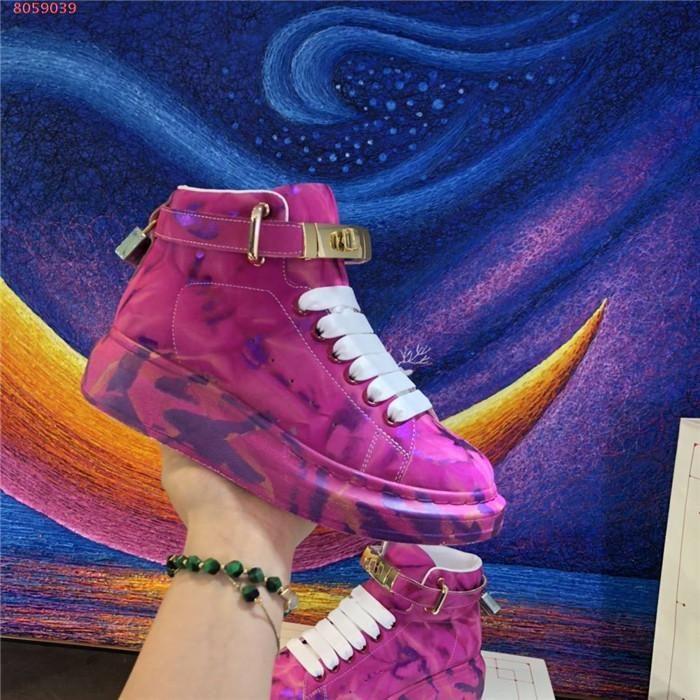 Мужская и женская новая осень / зима High-топ кожа спортивная обувь, белая резиновая подошва обуви с коробкой Размер 34-46