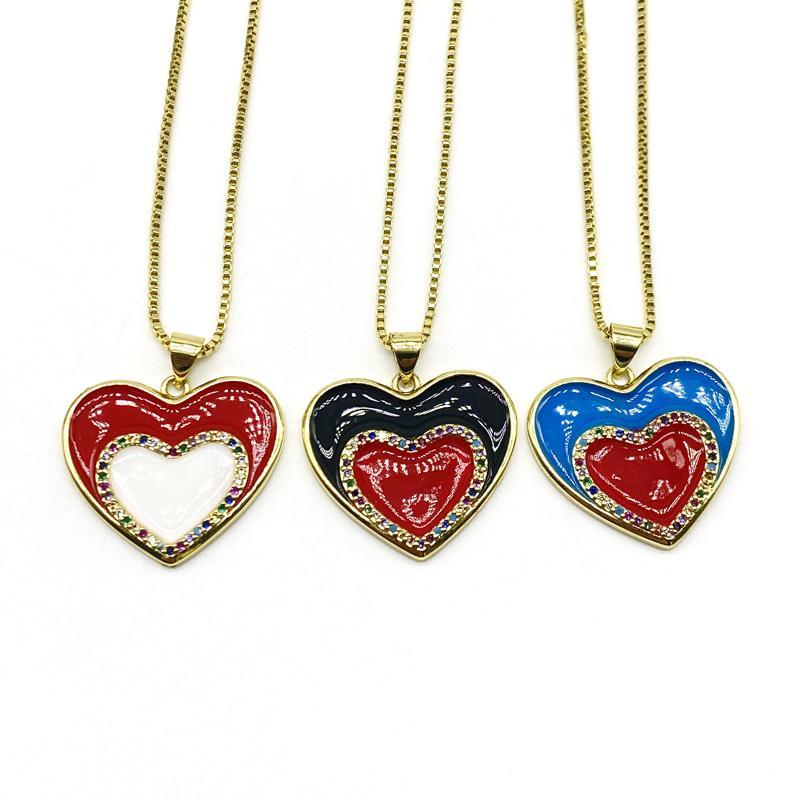 5pcs / lot di monili smalto all'ingrosso dell'arcobaleno del cuore della CZ dei pendenti