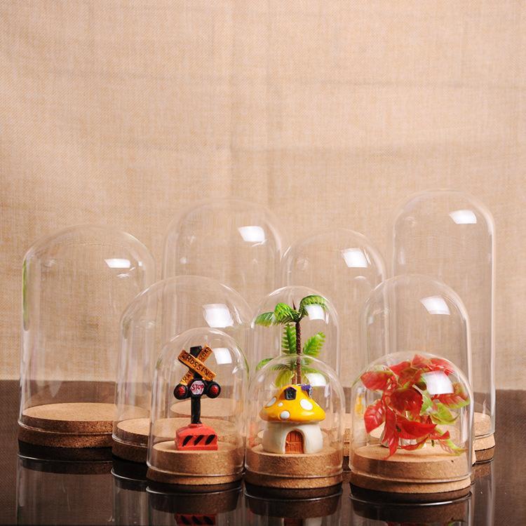 12 X (5 размер) Прозрачное стекло дисплея Крышка купола Клош Bell Jar сочной Террариумы Wood Cork Офисный стол Декор DIY