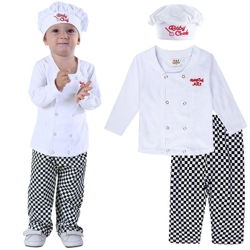 Baby-Chef-Kostüm-Satz Baby-Halloween-Abendkleid-Ausstattungs-Kleinkind-Cosplay Pilot Skeleton Pumkin Karnevals-Party-Kleidung 3PCS