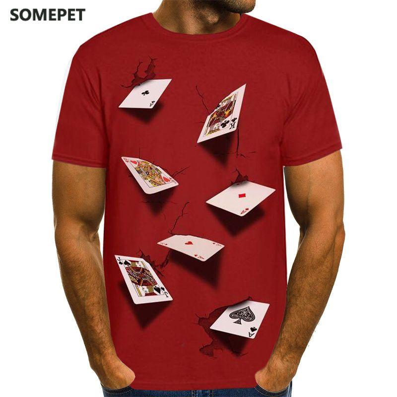 Мужские футболки Womся Poker T рубашка игральные карты рубашки одежды Las Vegas футболки одежда мужчины смешные 3D футболка