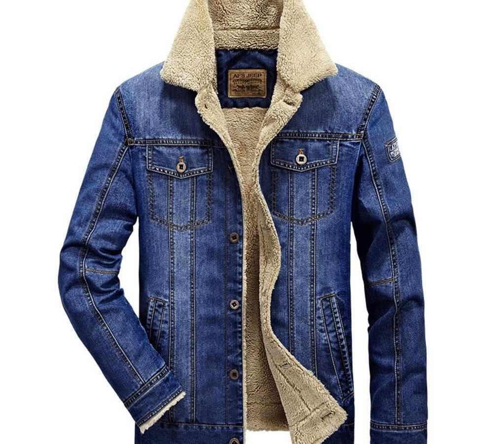Erkekler Fleece Jeans Ceket Kış Casual Sıcak Bomber Ceket Coat Erkek Pamuk Moda Aviator Düğme Kovboy Denim Outwear11