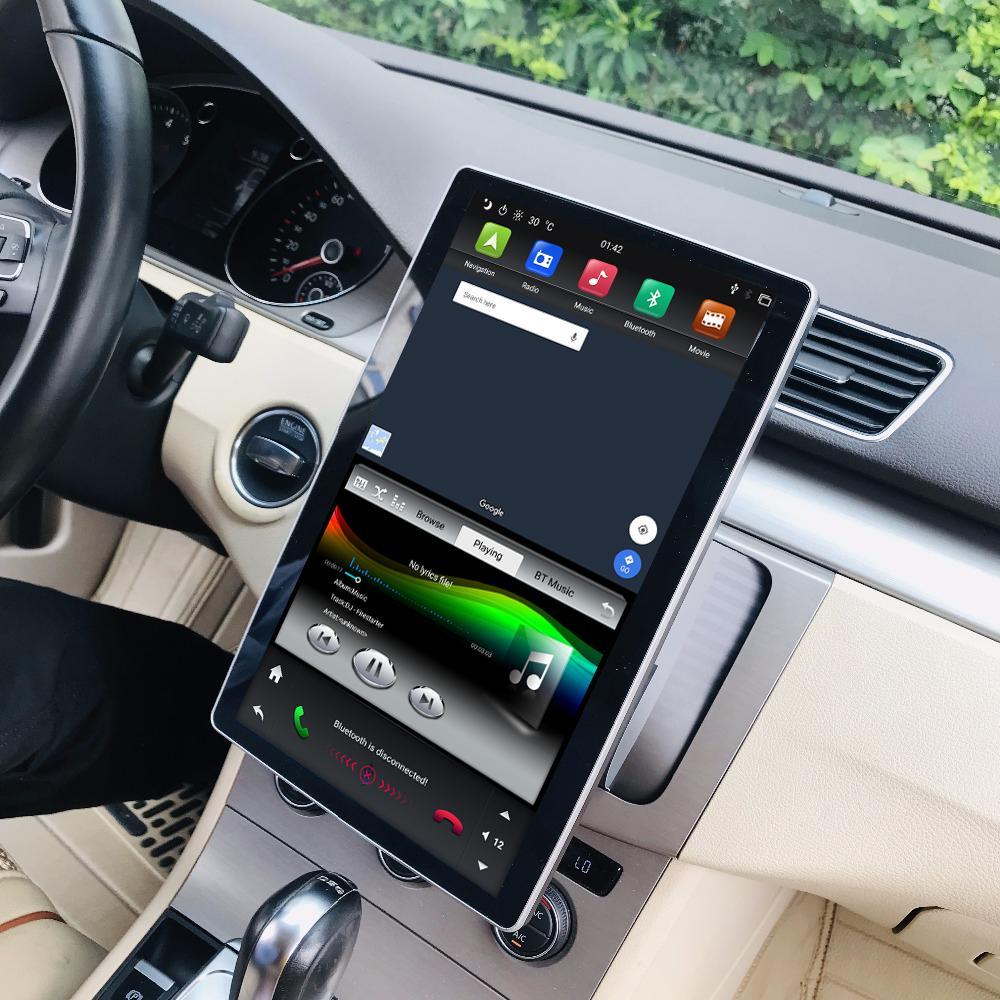 """1920 * 1080 IPS 스크린 6 코어 PX6 2 DIN 12.8 """"안드로이드 9.0 유니버설 자동차 DVD 라디오 GPS 헤드 유닛 블루투스 5.0 WiFi USB 쉬운 연결"""