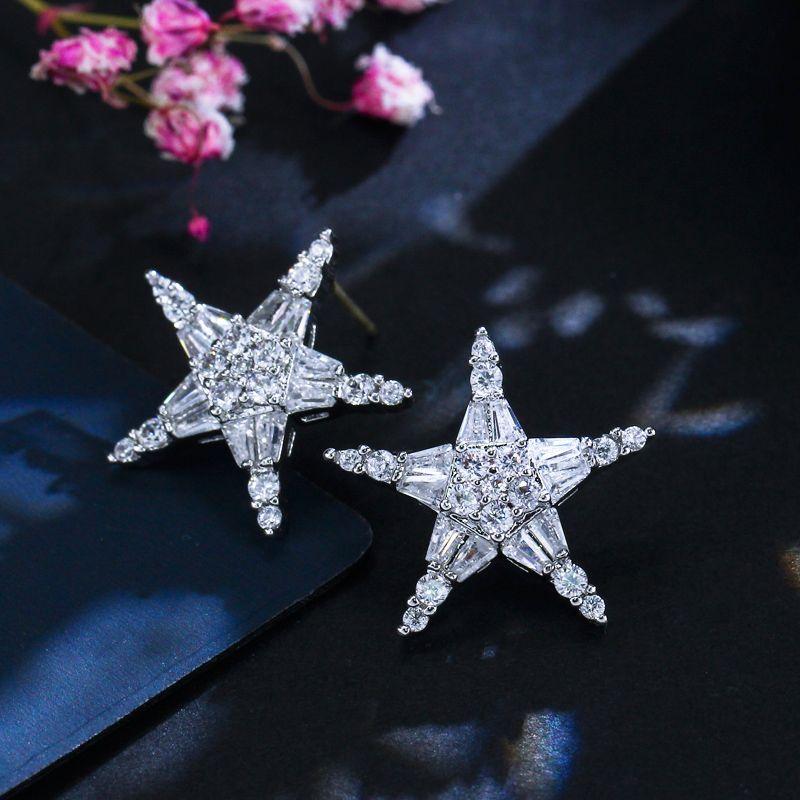 Stud CwwzIccons Berühmte Mode Marke Schmuck Funkelnde Qualität Cubic Zirkonia Star Ohrringe für Frauen Freund Geschenk CZ005