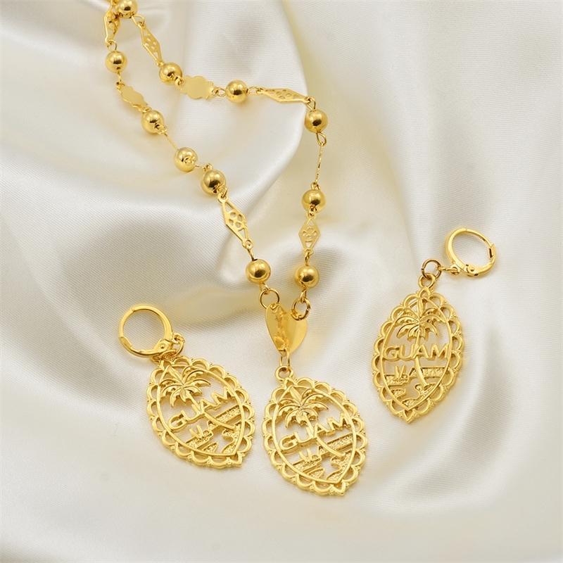 Anniyo set di orecchini collane Guam Flag Ciondolo per le donne di colore oro catene dei monili di Guam doni # 195.206 MX200810