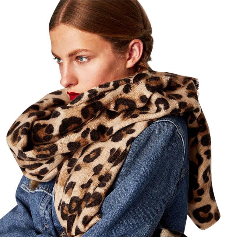 leopardo cachecol Quente Leopard Impresso Longo Lã Shawl macia Long Neck lenços Scarf Cachecol Bufanda Mujer lenço apaszka