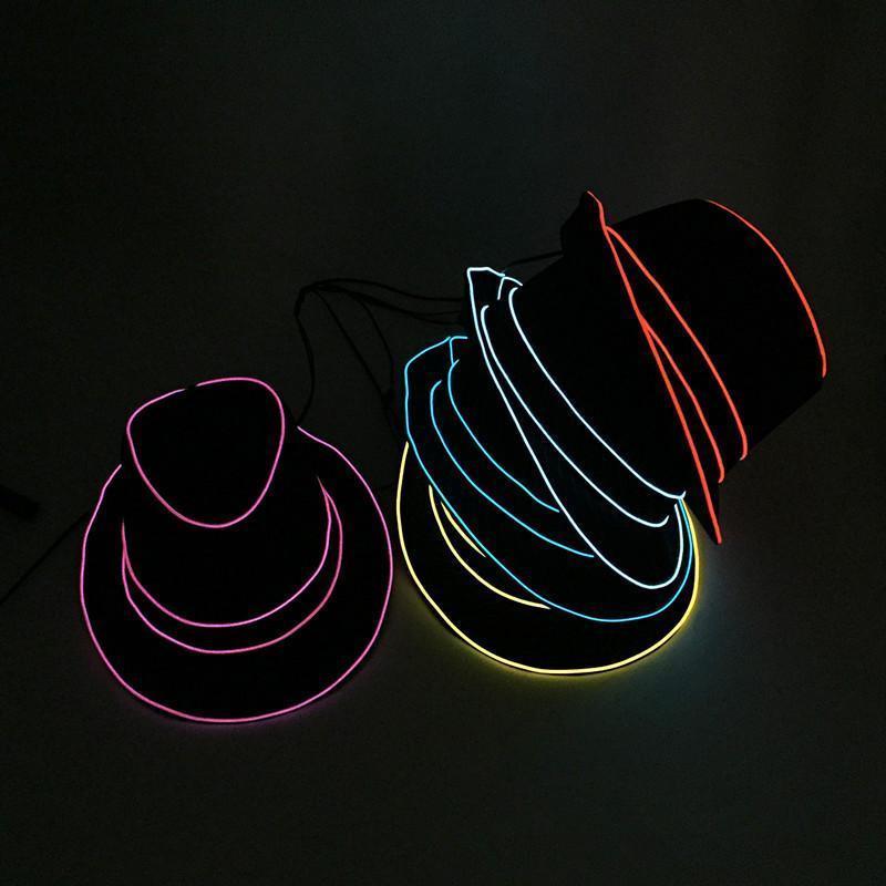Chapéus 10 Pesca Hip-hop de iluminação Chapéus Tecido Flash Led Jazz chapéu escuro brilho cores pesca da noite iluminado em Cap ajustável Chapéu de Festa bcafQJQI