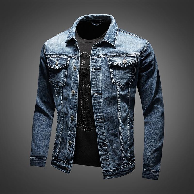 Blue denim jacket men's fashion brand street slim outer wear autumn jacket handsome all-match large size clothes
