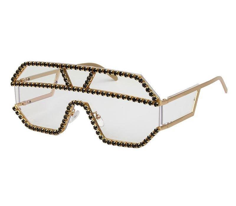 Emonsnia surdimensionné coloré diamant Lunettes de soleil femmes luxe Fashion Square Lunettes de soleil Gradient Vintage Punk Lunettes UV40098
