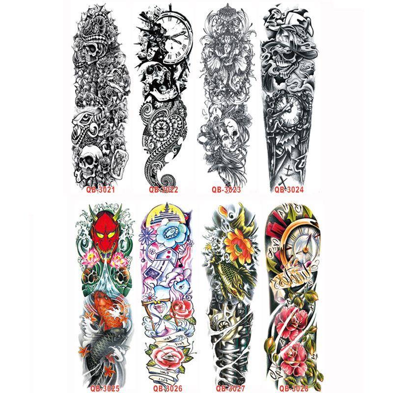 20pcs Enfriar manguito metálico tatuajes mujeres de los hombres del brazo del tatuaje impermeable tatuajes temporales transferible etiquetas engomadas del cuerpo Flash Art tatuaje T200908