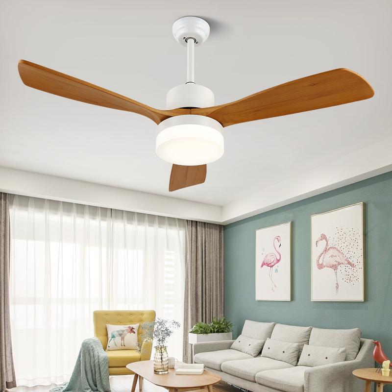 WOODSMAN nórdica de techo simple ventilador luz del restaurante del Hogar de la sala conversión de frecuencia de madera maciza luz de techo Ventilador