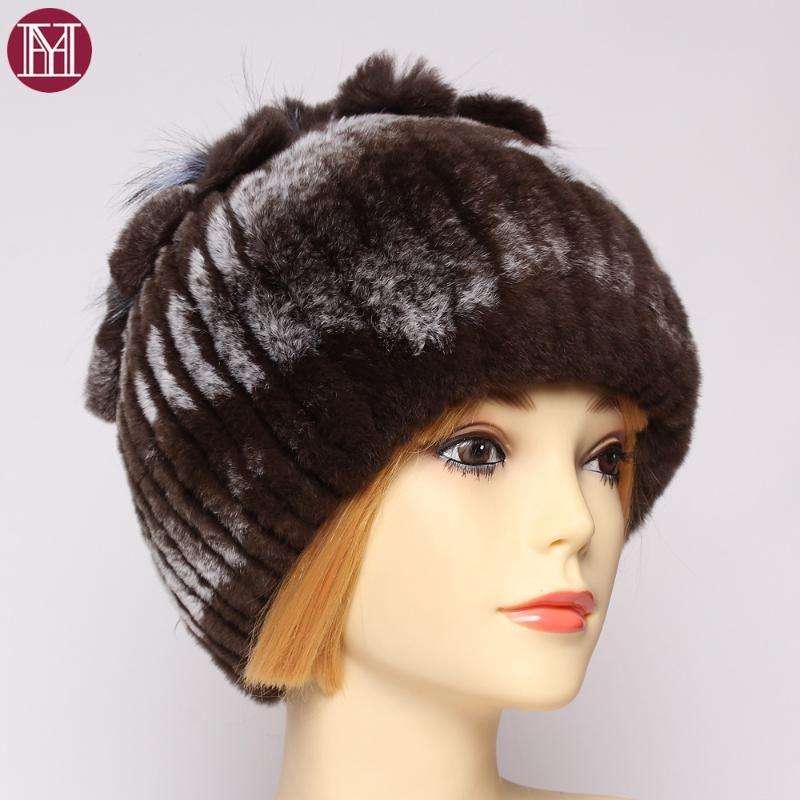 Señora del invierno Buena elástico 100% real sombreros de piel de las mujeres caliente floral natural Real Rex gorritas mano hacer que la piel genuina de camionero