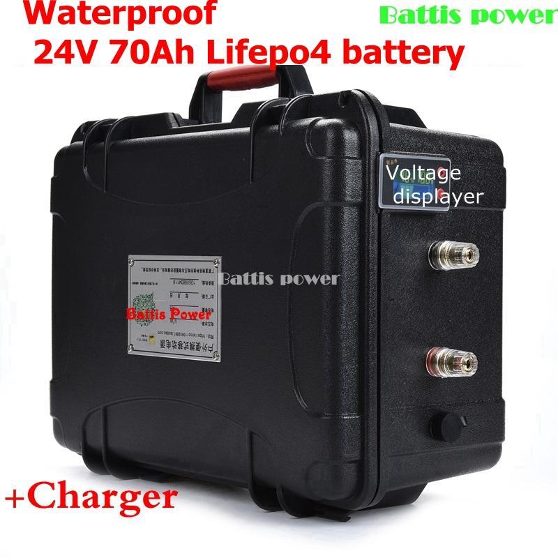 Wasserdicht 24V 70Ah LiFePO4 Batterie 1500W Lithium Elektrofahrrad Solarstrommotor mit BMS + 10A Ladegerät