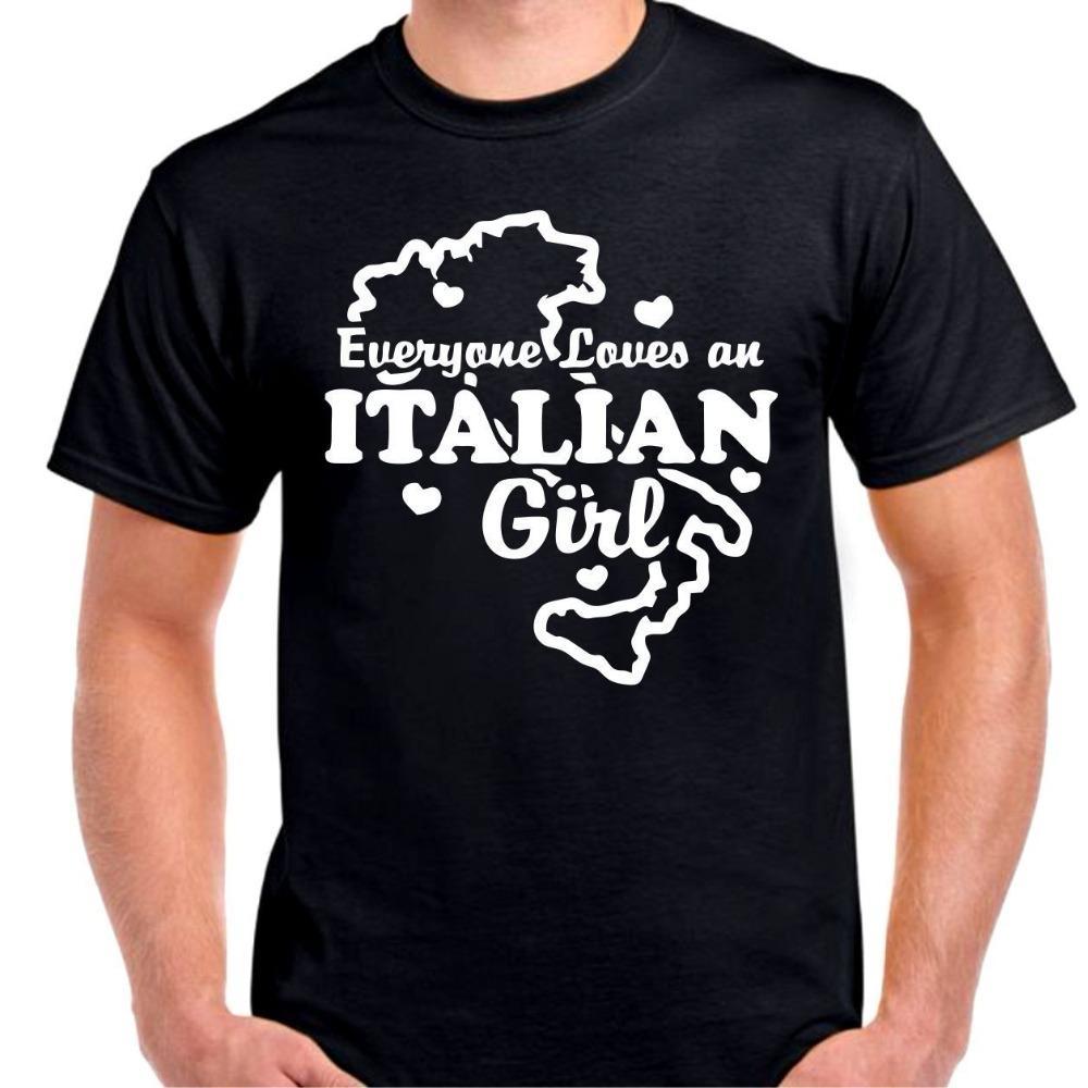 botón camiseta todo el mundo ama un acento italiano bella Italia camiseta camiseta de manga corta cuello redondo camiseta