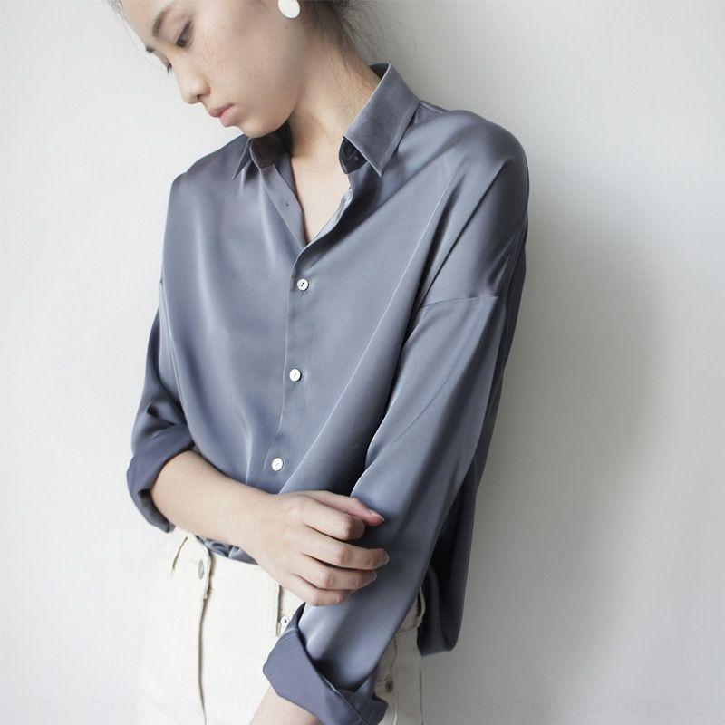 Kadınlar için ol gömlek saten üst ipek saten j1OrE kollu gri mavi uzun sis mat gömlek mizaç şık gevşek moda Üst ipek