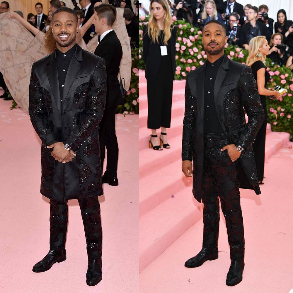 2021 Black Long Jacket 2 PC Herren Anzüge Hochzeit Smoking Custom Made Pailletten Bräutigam Groomsmen Anzug Mens 'formale Prom-Kleider