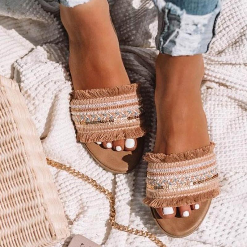 2020 Fashion Strand-Frauen-Sandelholz-Sommer-Art-Blick-Zehe-Blumen-Schuh-flache Schuh-Frauen-Flip-Flop