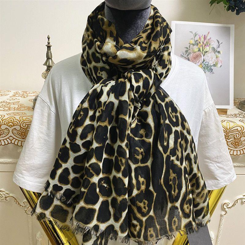 New style good quality 100% cotton material print leopard grain long scarves pashmina for women big size 180cm - 130cm