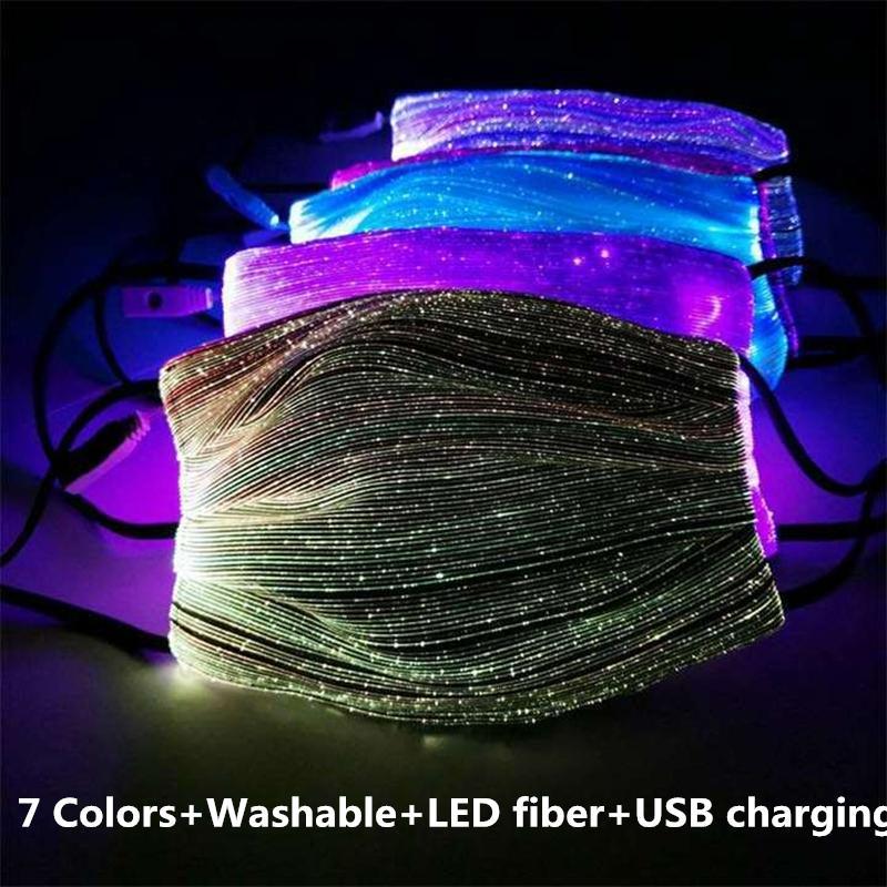 Austauschbare LED-Maske 7 Farben Veränderbare Luminous-Schablone mit USB-Party-Tanz-Staubdichtes Masque Stoffe Gesichtsmaske Mascarillas
