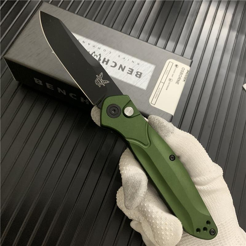 """벤치 메이드 BM9400 오스본 접는 나이프는 3.4 """"S30V 블랙 / 새틴 일반 블레이드 퍼플 양극 스페이서 티타늄 녹색 알루미늄 BM (940) 칼을 처리합니다"""