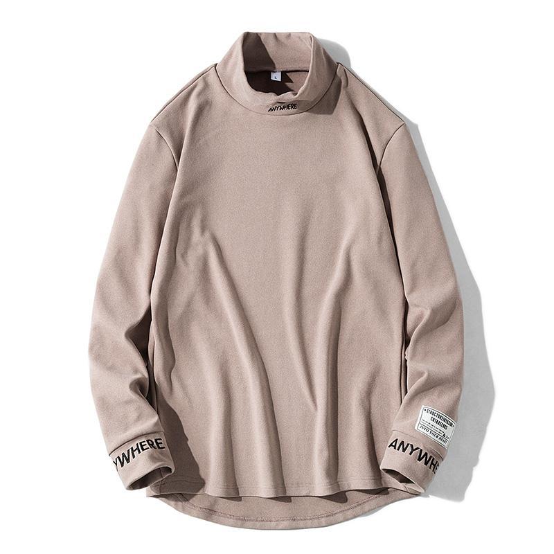 Bordados Camisetas Primavera Mens Long Sleeve Carta Turtleneck Camiseta Streetwear Casual T-shirt dos homens da forma T fz7707