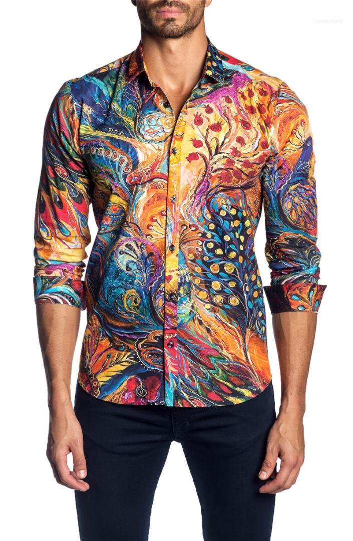 Couleur irrégulière Imprimer Slim Shirt Printemps Casual manches longues Lapel Fashion Fit Homme Hauts Designer Homme Chemises