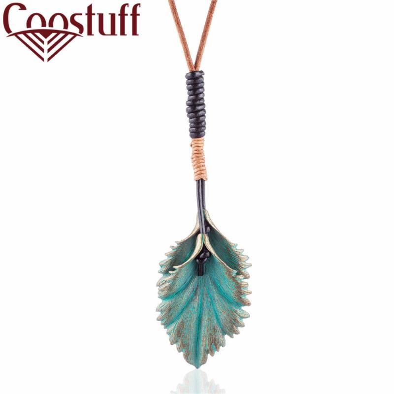 Donne Dichiarazione collane pendenti Green Leaf monili all'ingrosso collana femmina lunga sospensione del collo degli accessori della decorazione