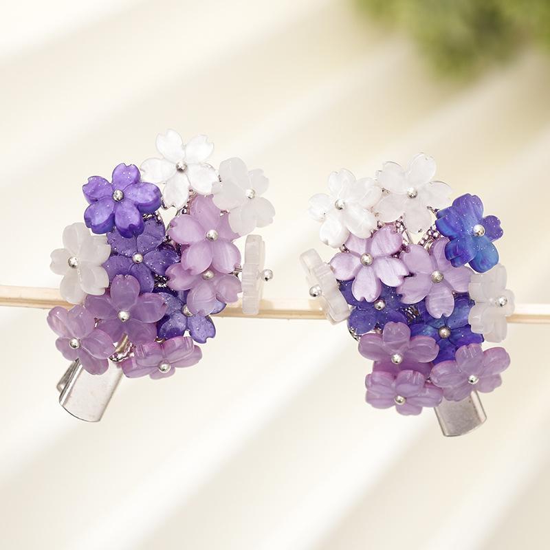 Clips FORSEVEN púrpura precioso pelo de la flor horquillas pequeñas pinzas para el cabello de la vendimia para las mujeres del estilo chino joyería Accesorios JL