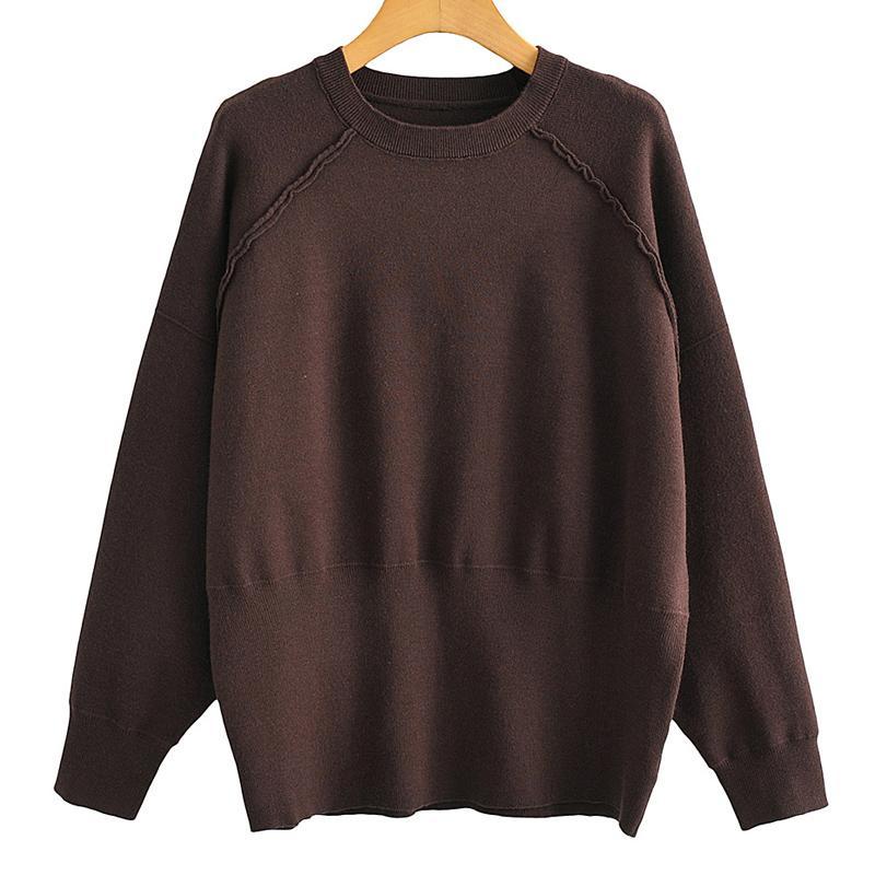 Novalya вскользь O шеи Свитера Женщины Мода Сыпучие темно-коричневый свитер Женщины Elegant с длинным рукавом свитера Женщины дамы IC