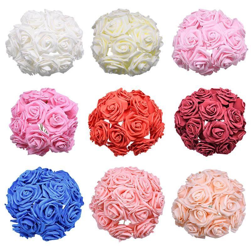 Stem 7 centimetri Artificiale Domiciliare Filo Rosa festa per 24pcs bdesports Big economico Garden Wedding Bouquet Schiuma con la decorazione Fiori gttJM