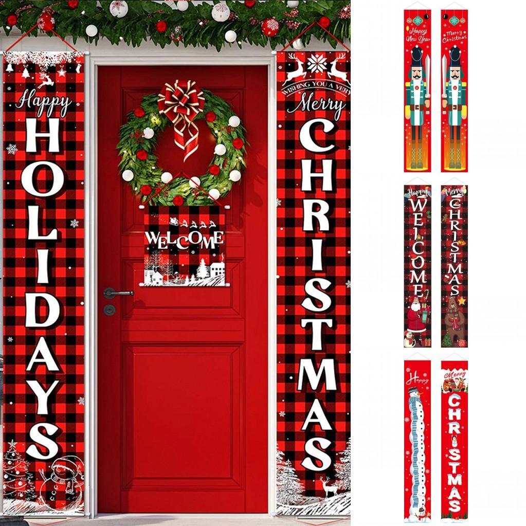 180 * 30 cm 26 Estilos Decoraciones de Navidad para el hogar Pórchico Signo Decorativo Puerta Bandera Colgando Feliz Navidad Adornos de Navidad FY7169