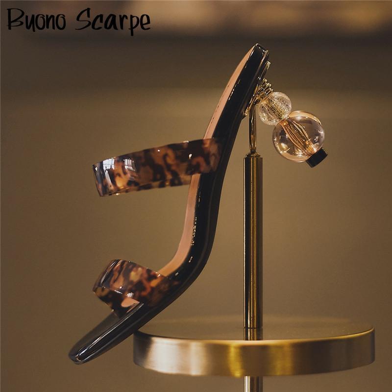 Retro Women Slingbacks Sandals Strange Heel Summer Sandals Leopard Sexy Heel Shoes Transparent Heel Sandalias Mujer Designer New