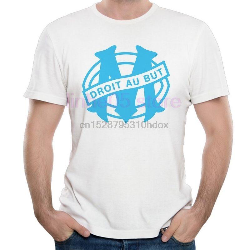 Olympique de Marseille T-shirts blancs O Neck Hauts Courtes Tee-Shirt Homme Modal tissu de coton de bonne qualité T-shirts Vêtements