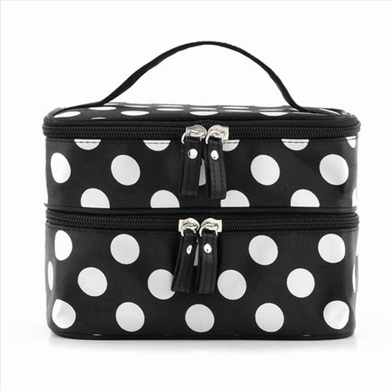 Preto grande capacidade Cosmetic Bag Mulher Dots portátil maquiagem Armazenamento sacos de lona Beleza Organizer Handbag Big Travel Bag