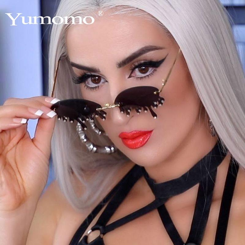 Nueva moda sin montura gafas de sol mujeres Vintage Lágrimas únicas Forma Steampunk Gafas de sol Mujer Gafas Sombras UV400 Ocultos Feminino Xiqli