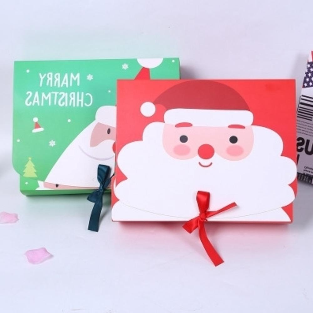 Christmas Eve Big Gift Box Santa & Fairy Design Papercard Kraft Present Party Favour Activity Box Red Green Partybox Kraft Paper