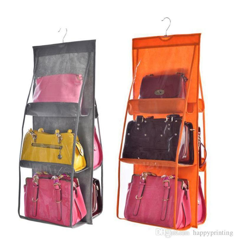 Hanger Hanging Sides Wall Organizer Storage Bag 6 For Wardrobe Bag Closet Pocket Handbag Shoe Door Double Pouch With Clear Sundry yxljQ