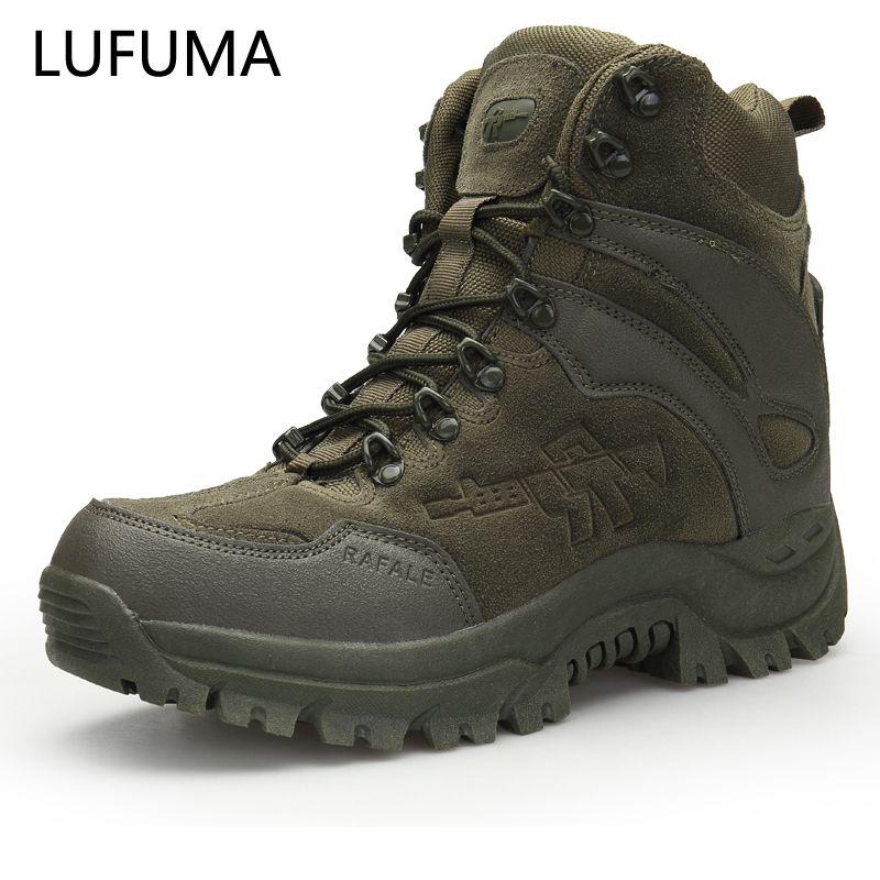 Çizmeler Lufuma Taktik Savaş Erkekler Hakiki Deri ABD Ordusu Avcılık Trekking Kamp Dağcılık Kış İş Ayakkabı Boot