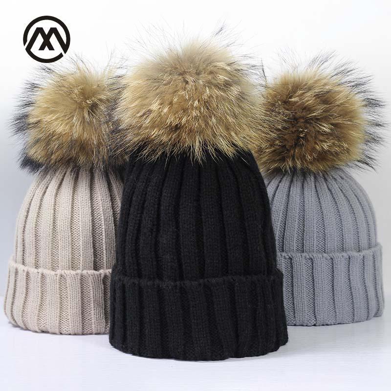 Inverno di marca femminile protezione della sfera Pom Poms cappello di inverno per le donne Girl 'S Cappellino Berretti Cap Thick Donne Skullies Berretti